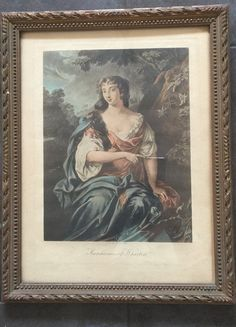 Framed coloured Mezzotint Print of the Marchioness of Wharton