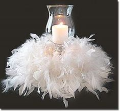 feather and pearls centerpiece