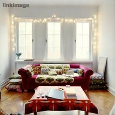 Warm white #FairyLights outlining a white window, gorgeous!