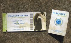 Neat idea for a destination wedding - save the date and formal invitations.