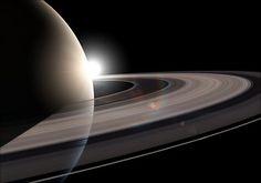 This is an artist's impression showing the planet Saturn and its rings.