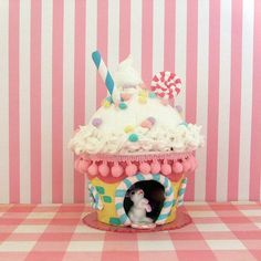 Sweet Cupcake House/Easter Cottage/Miniature by marileejanedesigns, looks good enough to eat