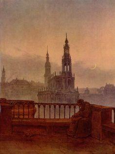 Carl Gustav-Carus (German 1789–1869) [Romanticism] Blick auf Dresden von der Brühlschen Terrasse, 1830-1831. Museum Georg Schäfer, Schweinfurt, Germany.