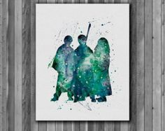Harry Potter Poster - Harry Potter, Ronald Weasley, Hermione Granger - Art Print, instant download,  Watercolor Print, poster