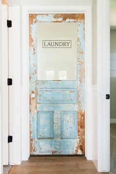 Custom laundry door with original vintage paint - by Rafterhouse.