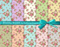 Shabby chic digital paper : FADED MEMORIES by HajDesignPapers