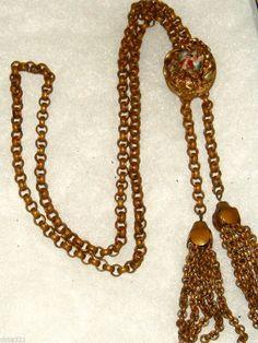 Lovely Antique Victorian Gold Filled Slide portrait  Necklace w/ Tassels
