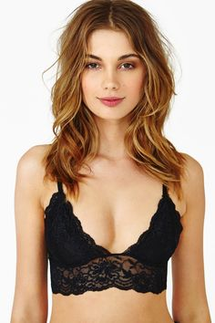 Nasty Gal Caterina Lace Bralette Black in Black