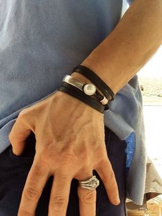 Half silver cuff with pearl and leather bracelet; leather jewelry, indie leather