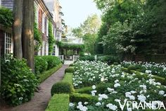 White rose garden of Thomas Pheasant designed Southampton house in May/June 2013 issue of Veranda, photo by Max Kim-Bee