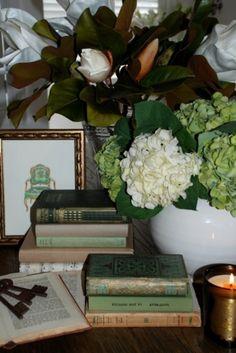 ...books, magnolia, hydrangea love...I love being Southern!