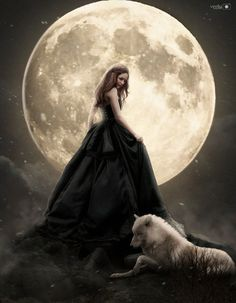 full moon by - Digital Art by Vera Lucia Gothic Fantasy Art, Fantasy Wolf, Beautiful Fantasy Art, Beautiful Moon, Wolves And Women, Gothic Angel, Fairy Pictures, Fantasy Photography, Digital Art Girl
