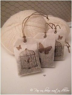 """Edit: in a brown bix/bag which says """"lavender is a flower which gives off aa scent which calms the nerves. Hang in cars, bedrooms, closets, bathrooms."""" lavender sachets with lovely stamped bags. Wouldn't they be cute hanging in the car. Lavender Bags, Lavender Sachets, Diy Projects To Try, Sewing Projects, Craft Projects, Diy And Crafts, Arts And Crafts, Paper Crafts, Scented Sachets"""
