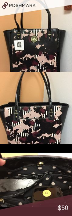 Anne Klein Purse Black with mauves. New. Approx 12x12. Not counting hight of handle which is 9 more inches. Anne Klein Bags Totes
