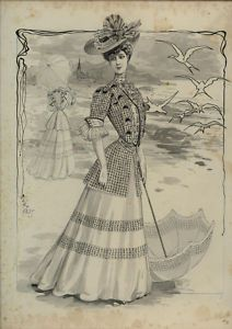 ORIGINAL FRENCH LAVIS FROM 1900 signed CLEO - Rare Museum Drawing