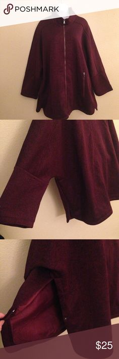 Details women's coat size XL. Details women's coat size XL. This coat is very pretty and close to knew. Deep burgandy color, polyester blend, machine washable... d.e.t.a.i.l.s Jackets & Coats
