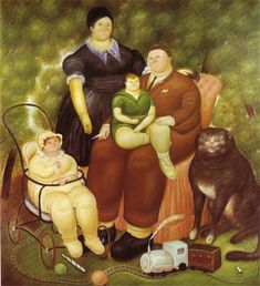 Family Scene by Colombian artist Fernando Botero (born Diego Rivera, Renoir, Moritz Von Schwind, Frida Diego, Plus Size Art, Family Painting, Art Database, Oil Painting Reproductions, Naive Art