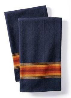 """NWT PENDLETON NATIONAL PARK JACQUARD DISH TEA TOWELS SET OF 2 NAVY 28""""x 20"""" #PENDLETON"""