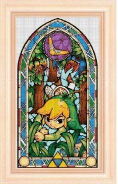 Legend of Zelda stained glass 1 cross stitch por NeniDesign