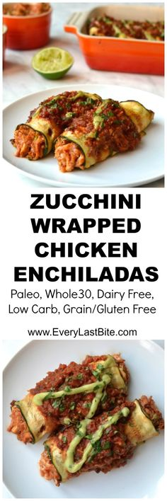 Zucchini Wrapped Chicken Enchiladas, Food And Drinks, A healthy and low carb alternative to traditional enchiladas. Delicious saucy shredded chicken wrapped in zucchini strips (Paleo, Gluten Free. Low Carb Recipes, Cooking Recipes, Healthy Recipes, Paleo Zucchini Recipes, Paleo Ideas, Vegetable Recipes, Vegetarian Recipes, Clean Eating Recipes, Recipes
