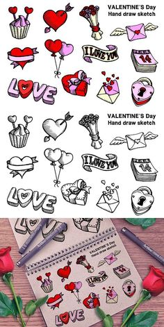valentine valentines drawing hand draw theme doodle drawings sketch couple hands creativemarket