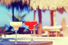 Two cocktails on luxury tropical sand beach by Nadya&Eugene Photography #Cocktails #NadyaEugenePhotography