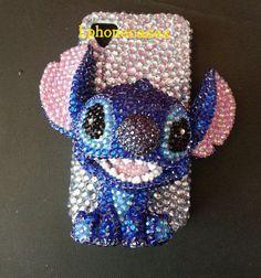 Blue 3D iPhone Case stitch Phone Case swarovski by Lphonecases