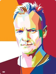 Sting Famous Artists, Music Artists, Vector Pop, Pop Art Illustration, Pop Art Portraits, Celebrity Drawings, Rock Posters, Arte Pop, Face Art