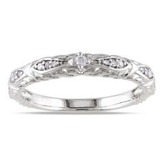 Get Three Bands Represent Engagement Marriage And Motherhood Miadora White Gold TDW Diamond Vintage Stackable Wedding Band Ring G H