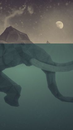 ↑↑TAP AND GET THE FREE APP! Art	Animals Elephant Graphics Cool Night Abstract Gray Green HD iPhone 6 Wallpaper