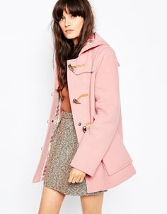 Gloverall Fitted Duffle Coat In Pale Pink - Pink