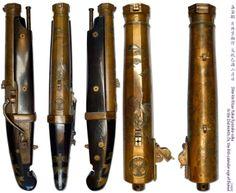 Bronze barreled matchlock pistol, Signed:Shin-kin Kitae  Katai Kyosuke-saku, 1829, length 53.6 cm, barrel length 31.0 cm, caliber 2.6 cm.
