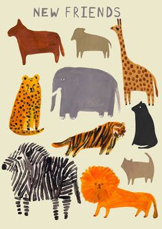 Zoo folk art animal illustration print