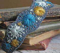 hand embroidered felt bracelet