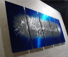Jagged in Blue/Original Abstract Painting a Metal Wall by Niderart, $265.00