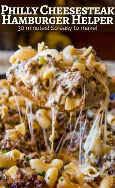"""Philly Cheesesteak Hamburger Helper will make you forget all about the boxed type you had as a kid, youll love this creamy, cheesy cheesesteak pasta. Philly Cheesesteak Hamburger Helper, it wasnt a recipe I had planned on posting so soon. Hamburger Casserole, Hamburger Meat Recipes, Casserole Recipes, Hamburger Meal, Hamburger Macaroni, Steak Casserole, Hamburger Dishes, Venison Recipes, Chicken Casserole"