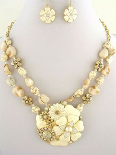 Cream  Flowers Metal Cream Stones Crystal Accents Fashion Necklace Set #FashionJewelry