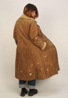 Hand painted customised full length 1970s sheepskin coat