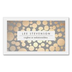 Chic Faux Gold Leaf Circle Grey Blue Business Card