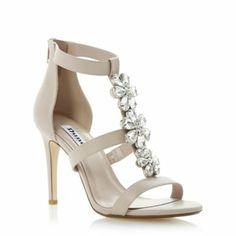 DUNE LADIES Neutral HI DAISY - Jewelled Flower Detail Heeled Sandal | Dune Shoes Online