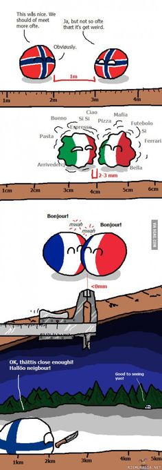 Finland personal space looks just about perfect for me. Personal space ( Norway, Italy, France, Finland ) by Hansafan Funny Christmas Pictures, Best Funny Pictures, Hetalia, Haha, Funny Memes, Hilarious, Funny Videos, History Memes, Christmas Humor