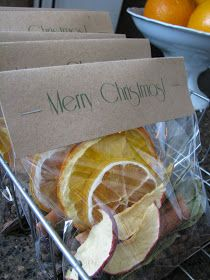Neighbor Gifts. Christmastime scent.  5 cinnamon sticks 1 dried lemon slice 1 dried orange slice 1/2 cup whole cloves 1 tbs. nutmeg 1/4 cup whole allspice 1 tbs. bay leaf pieces 3 dried apple slices  Combine ingredients. Add water to simmer on stovetop.