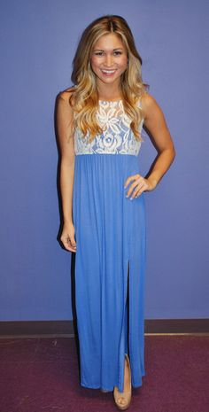 royal blue maxi with lace bodice