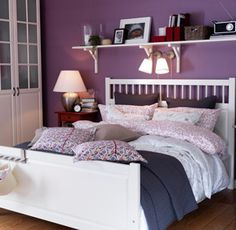 hemnes bed! purple walls! new bedroom for megs, perhaps?