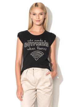 Tricou negru cu imprimeu text Bone - Only (15123902-BLACK)