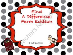 Find A Difference: Farm Edition from Teach Speech 365 on TeachersNotebook.com (15 pages)  - Find A Difference: help your students develop language skills by having them spot the 3 differences in each picture!