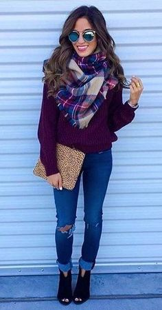 #winter #fashion /  Purple Knit + Printed Scarf