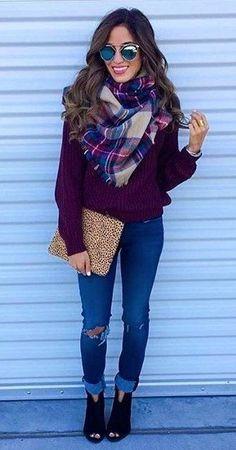 #winter #fashion /  Purple Knit + Printed Scarf