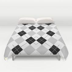Black White and Gray Argyle Duvet Cover