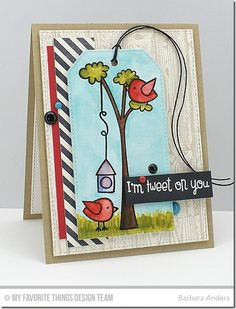 Tweet On You, Striped Backgrounds, Wood Plank Background, Stitched Traditional Tag STAX Die-namics, Tweet On You Die-namics - Barbara Ander #mftstamps
